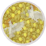 Cockatoos With Lemons Round Beach Towel