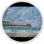 Cocoa Beach Pier Round Beach Towel