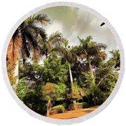 Coconut Trees Round Beach Towel