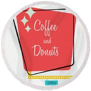 Coffee And Donuts- Art By Linda Woods Round Beach Towel