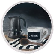 Round Beach Towel featuring the painting Coffee Time by Fe Jones
