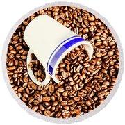 Coffee Tips Round Beach Towel