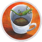 Round Beach Towel featuring the painting Coffee With A Friend by Darice Machel McGuire