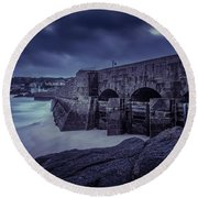 Cold Mood On The Pier Round Beach Towel