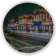 Cold Night In Cripple Creek Round Beach Towel