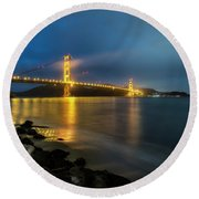 Round Beach Towel featuring the photograph Cold Night- by JD Mims