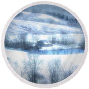 Cold Valley Round Beach Towel