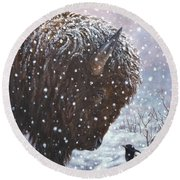 Cold Weather Cohorts Round Beach Towel