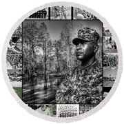 Colonel Trimble Collage Round Beach Towel