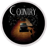 Color Country Music Guitar Notes Round Beach Towel