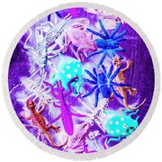 Color Faunae Round Beach Towel