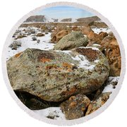 Color In The Book Cliff Desert Round Beach Towel