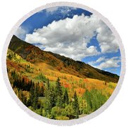 Color In The Spotlight At Red Mountain Pass Round Beach Towel