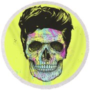 Color Your Skull Round Beach Towel