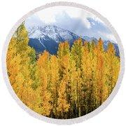 Colorado Aspens And Mountains 1 Round Beach Towel
