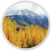 Colorado Aspens And Mountains 2 Round Beach Towel