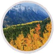 Colorado Aspens And Mountains 4 Round Beach Towel