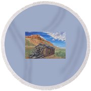 Round Beach Towel featuring the painting Colorado Prarie Cabin by Alan Johnson