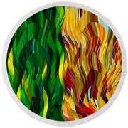 Colored Fire Round Beach Towel