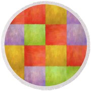 Colored Tiles Round Beach Towel