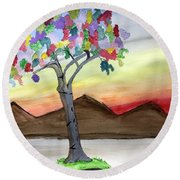Colored Tree Round Beach Towel