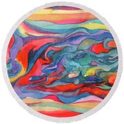 Colorful Abstract Palette Round Beach Towel