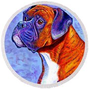 Colorful Brindle Boxer Dog Round Beach Towel