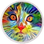 Colorful Calico Cat Round Beach Towel