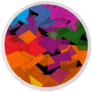Colorful Chaos Round Beach Towel