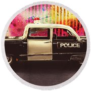 Colorful Crime  Round Beach Towel