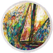 Colorful Day On The Water Round Beach Towel