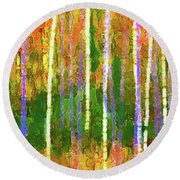 Colorful Forest Abstract Round Beach Towel