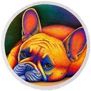 Daydreamer - Colorful French Bulldog Round Beach Towel