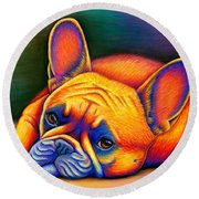Colorful French Bulldog Round Beach Towel