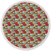 Colorful Geometric Abstract Pattern Round Beach Towel