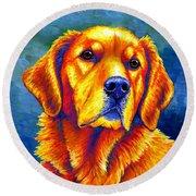 Colorful Golden Retriever Dog Round Beach Towel