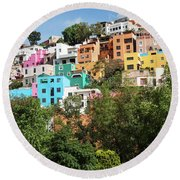 Round Beach Towel featuring the photograph Colorful Hilltop Buildings And Sign In Guanajuato, Mexico by Tatiana Travelways