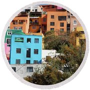 Round Beach Towel featuring the photograph Colorful Hilltop Buildings In Guanajuato, Mexico by Tatiana Travelways