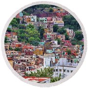 Round Beach Towel featuring the photograph Colorful Hilltop Houses In Guanajuato, Mexico 2 by Tatiana Travelways