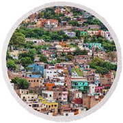 Round Beach Towel featuring the photograph Colorful Hilltop Houses In Guanajuato, Mexico by Tatiana Travelways