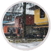 Colorful Koprivshtica Houses In Winter Round Beach Towel
