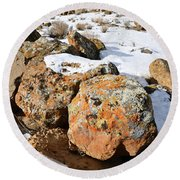Colorful Lichen Covered Boulders In Book Cliffs Round Beach Towel