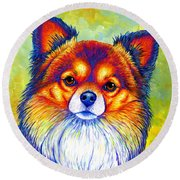 Colorful Long Haired Chihuahua Dog Round Beach Towel