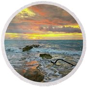 Colorful Morning Sky And Sea Round Beach Towel