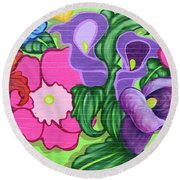 Colorful Mural Round Beach Towel