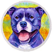 Colorful Pitbull Terrier Dog Round Beach Towel