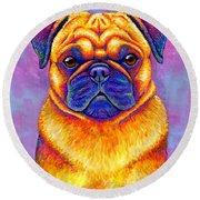 Colorful Rainbow Pug Dog Portrait Round Beach Towel