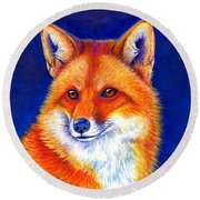 Colorful Red Fox Round Beach Towel