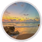 Colorful Seascape Round Beach Towel