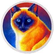 Jewel Of The Orient - Colorful Siamese Cat Round Beach Towel